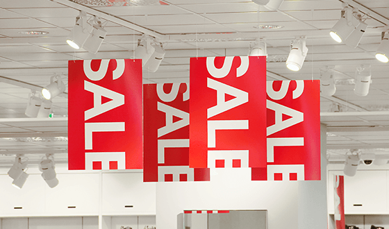 Picture of sale banners on store