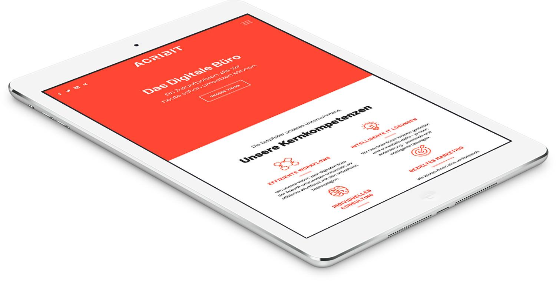 Responsive Darstellung der ACRIBIT Website auf Tablet