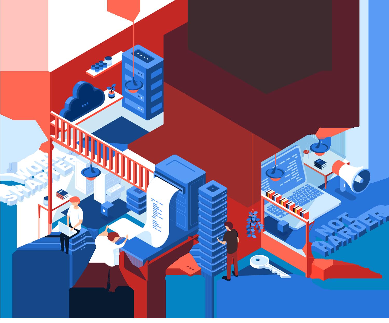 Das digitale Büro Ebene 1 mit Servertechnik, Druck- und Kopiertechnik, Marketing und IT Sicherheit