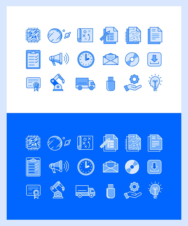 Iconset für Website G&W Leiterplatten