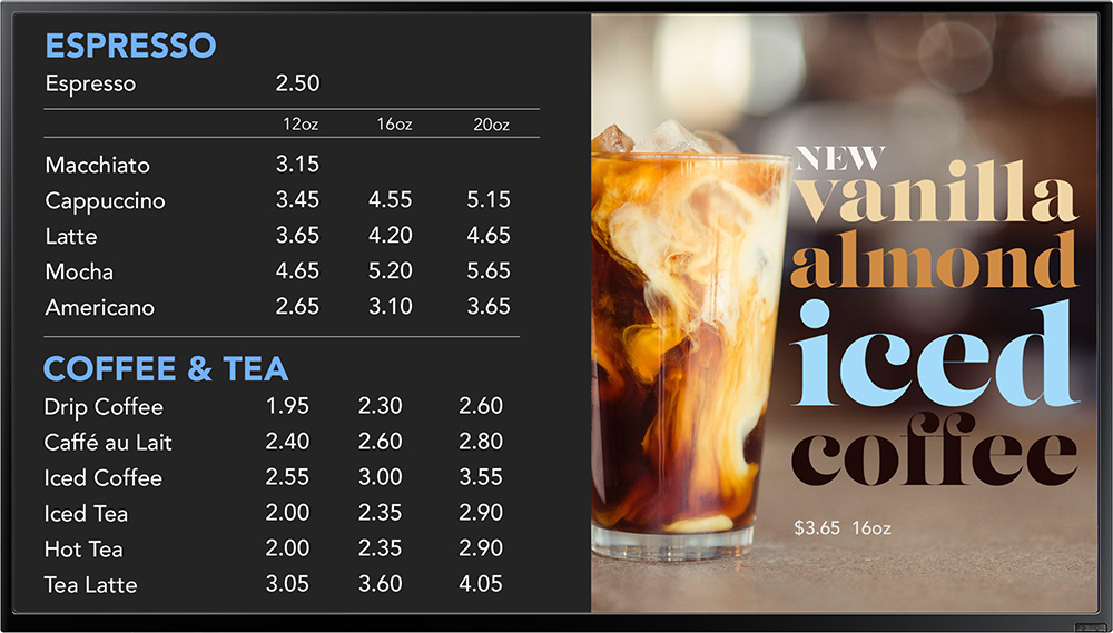 Digital Signage Menu Example of a Coffee Shop Menu