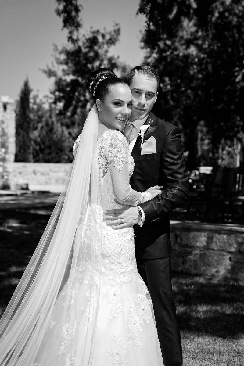 portrait of bride and groom in black and white