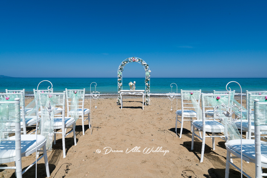 beautiful wedding set up on the sandy beach