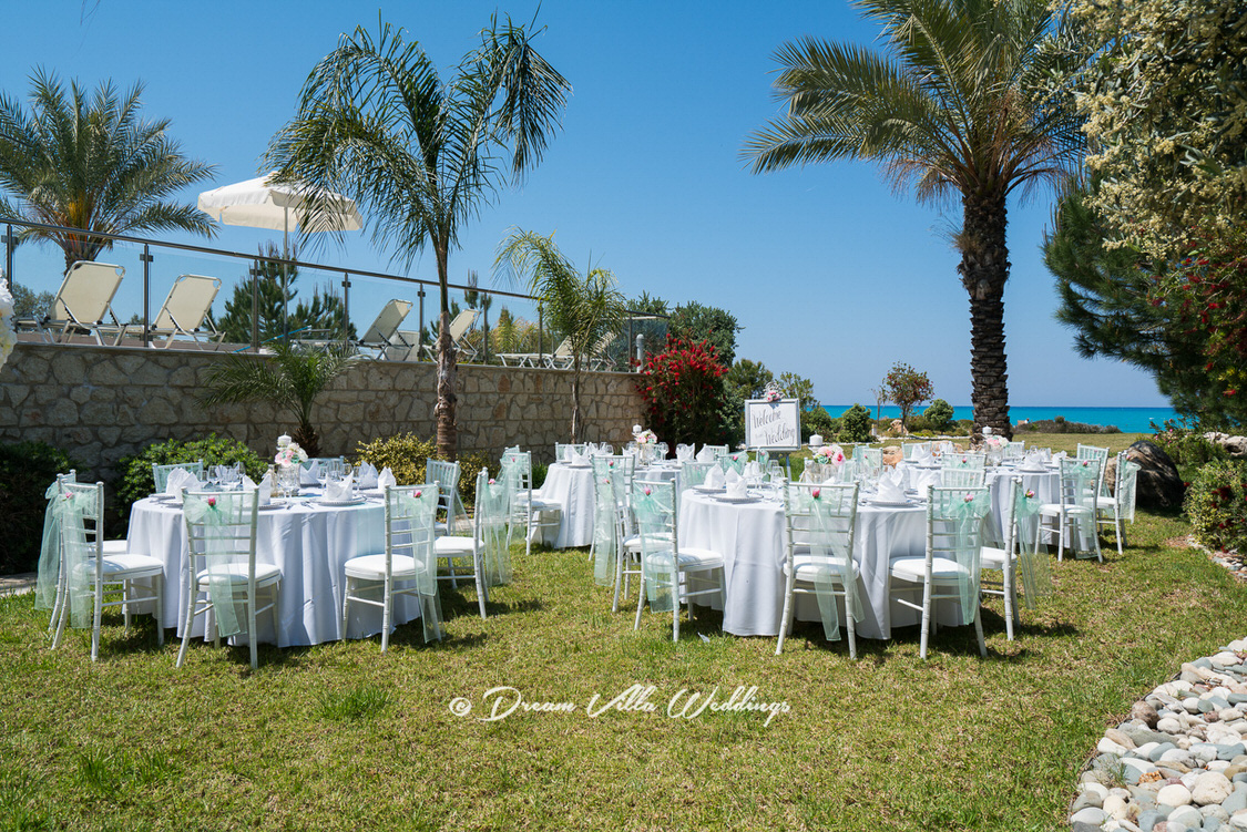 wedding reception tables and chairs on the lawn