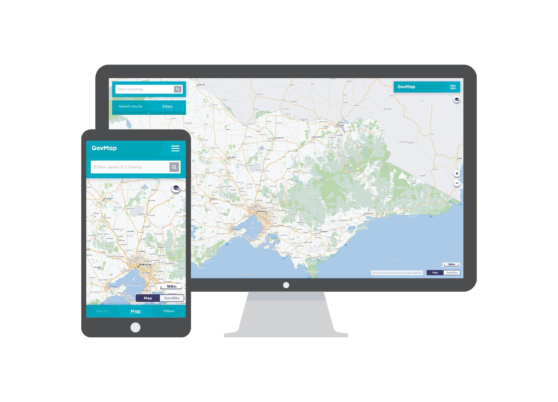 A desktop and smartphone screen showing govmap
