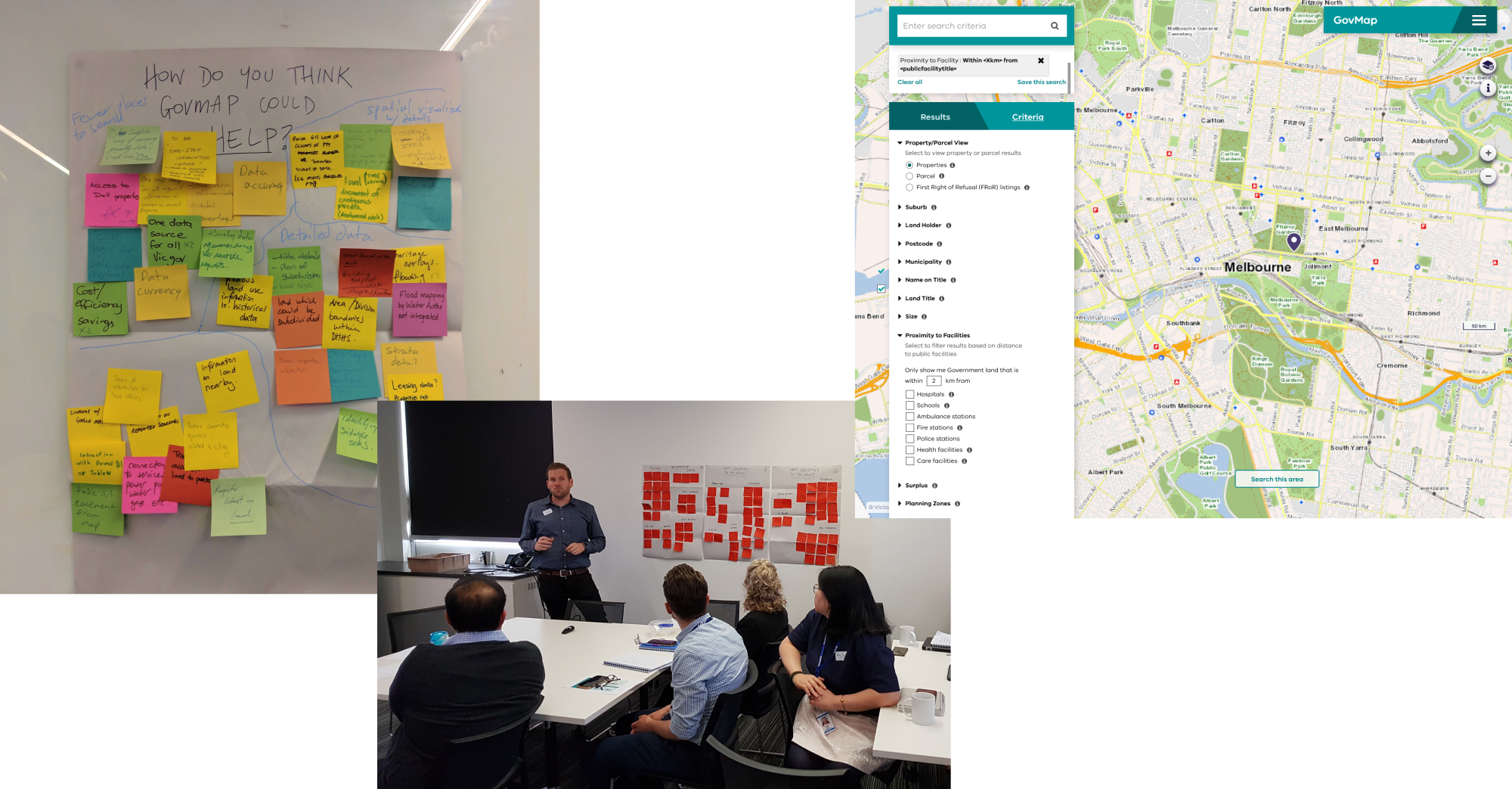 group of images showing codesign ideas on post-its, a codesign workshop, and a snapshot of govmap