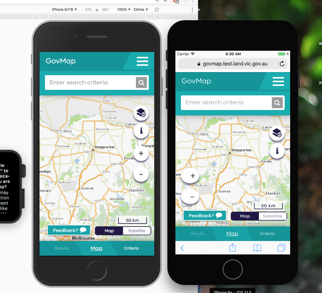 two smartphone screens showing govmap
