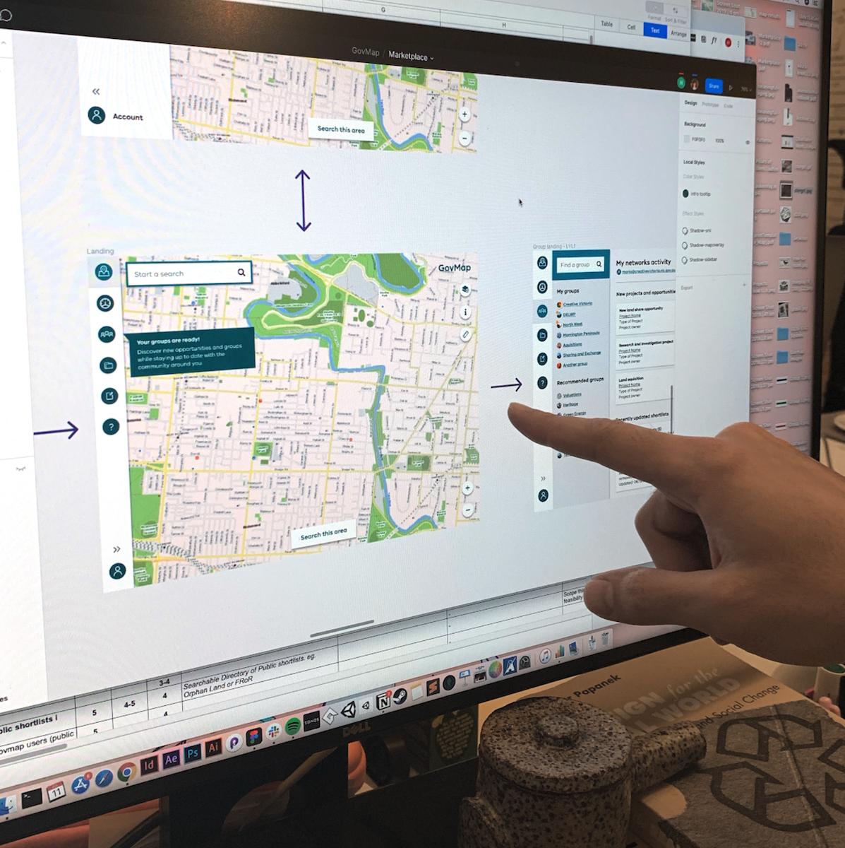A desktop screen showing ideas for govmap's design