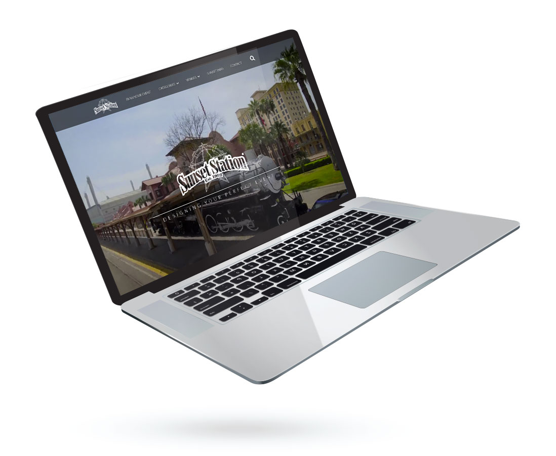 Laptop with Sunset Station Web page