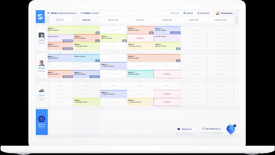 interface du logiciel de planning Stopilo