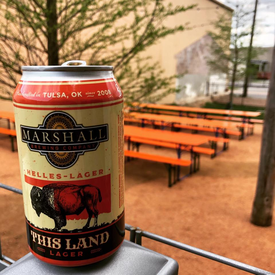 A can of This Land Lager in the Biergarten.