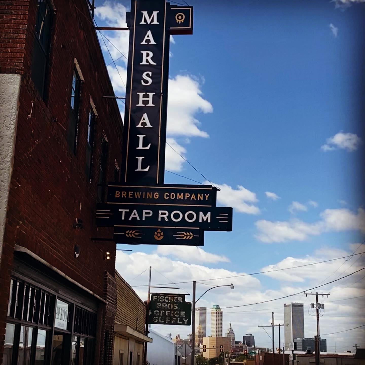 The Tap Room Sign and Tulsa Skyline