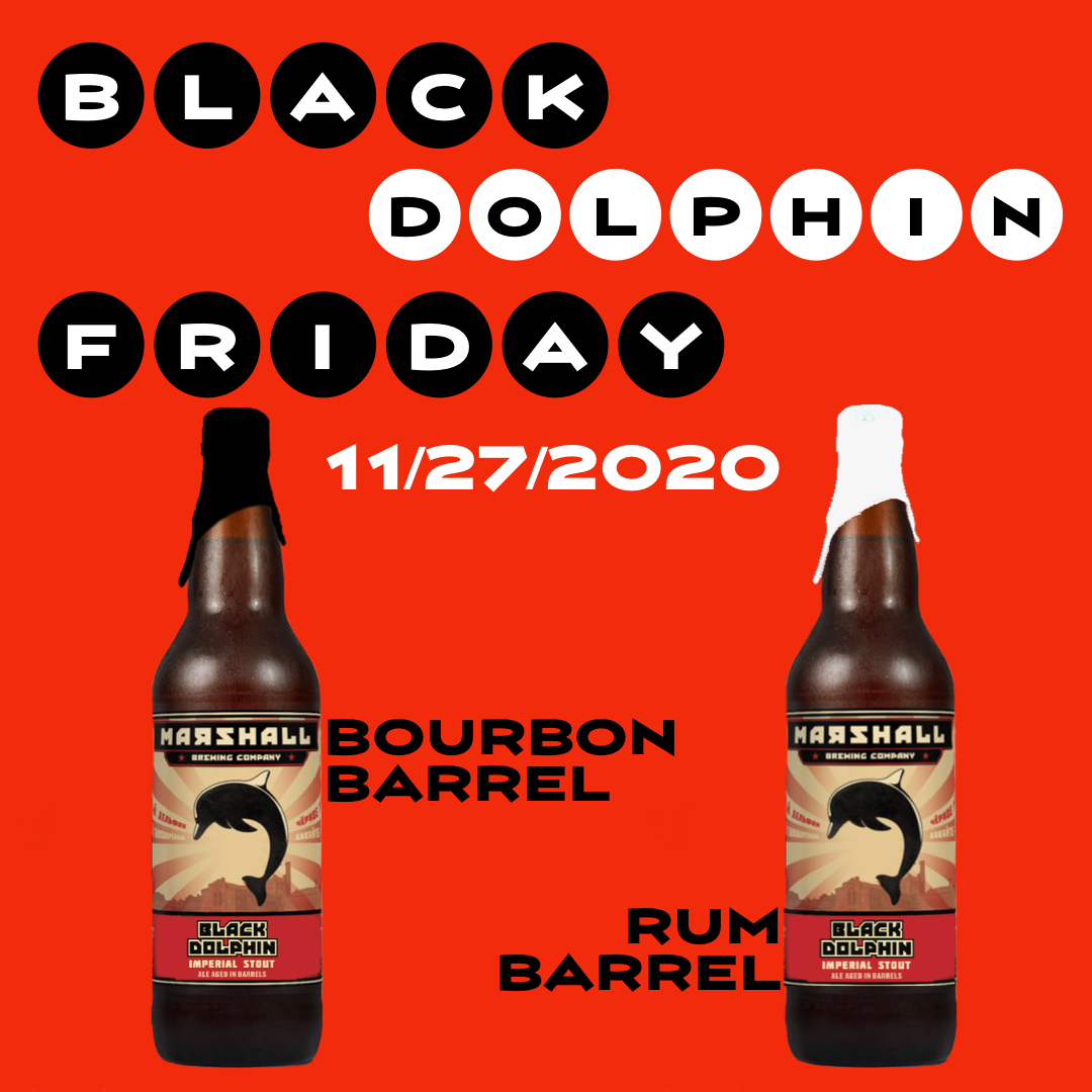 Two bottles of Black Dolphin Stout, aged in rum and bourbon Barrels.