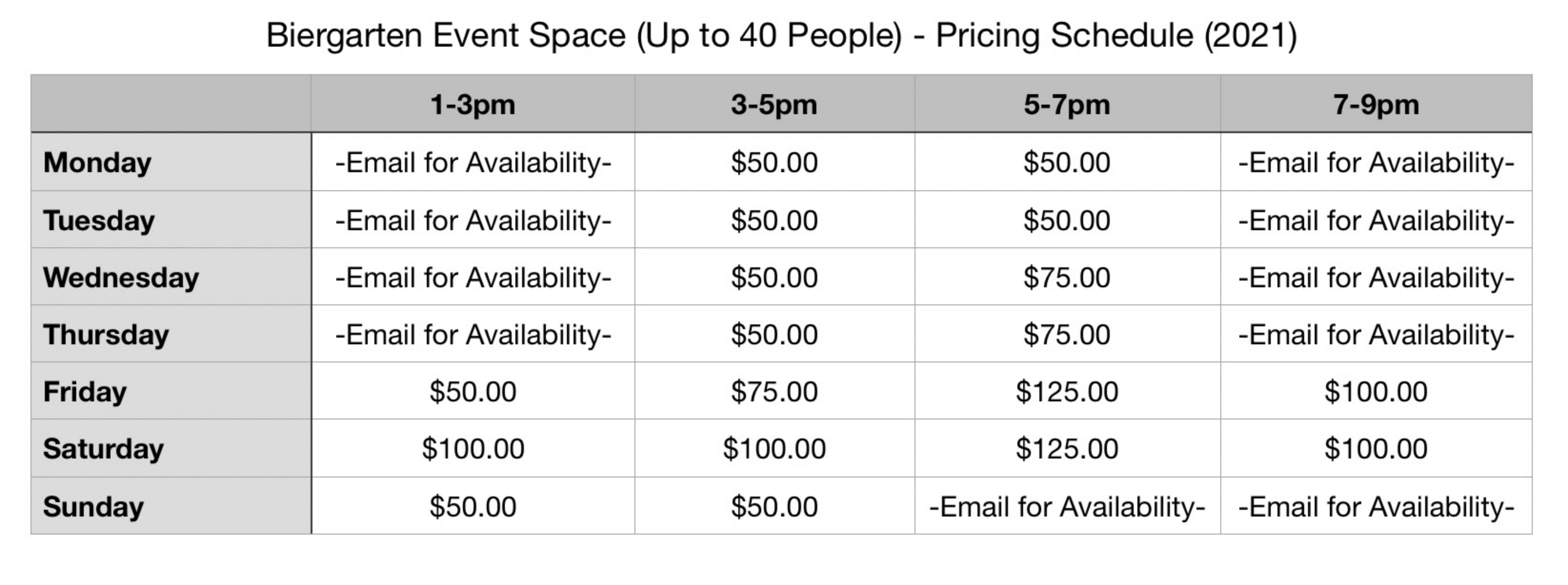 A list of prices for biergarten event rentals.