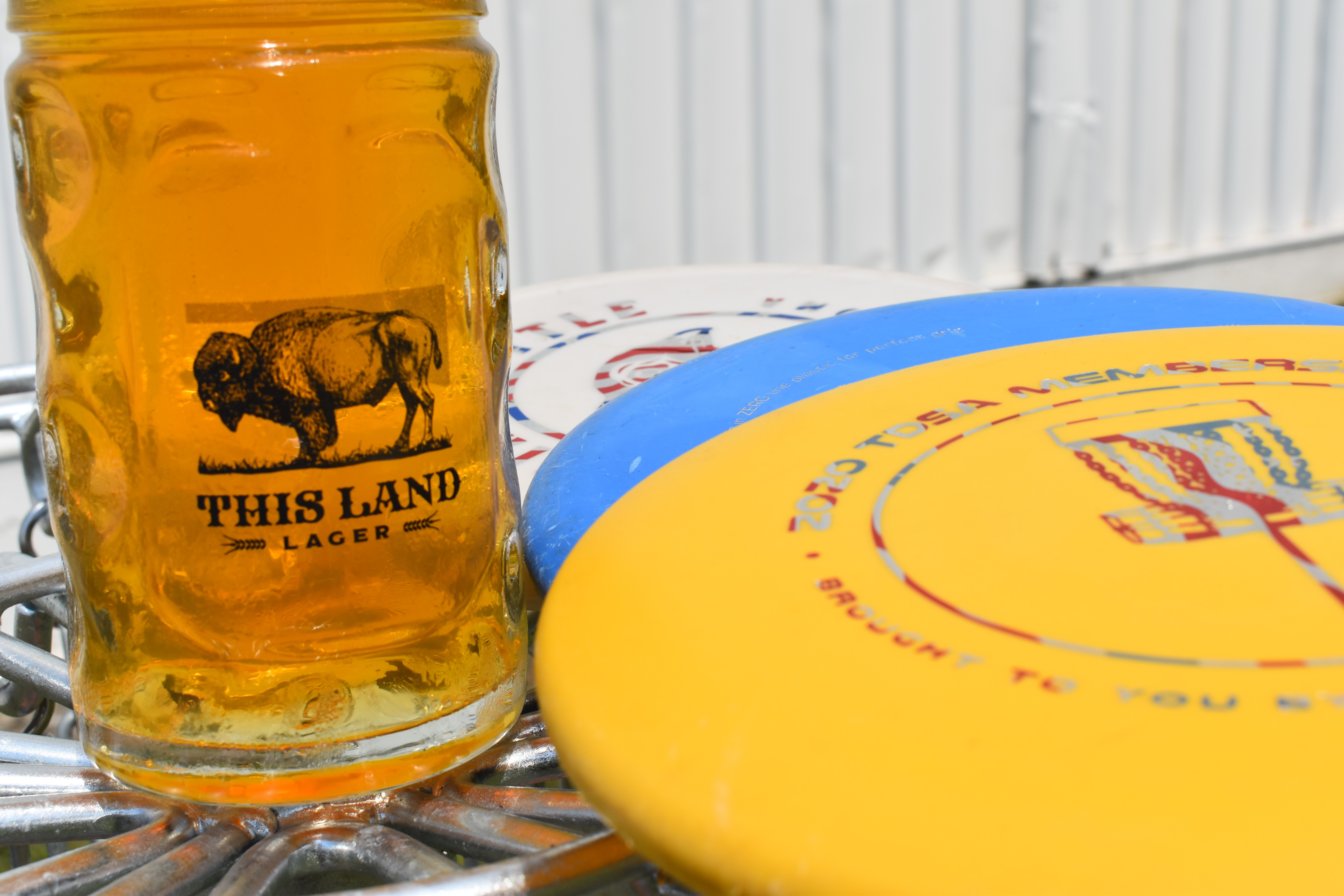 A photo of discs alongside a This Land Lager.