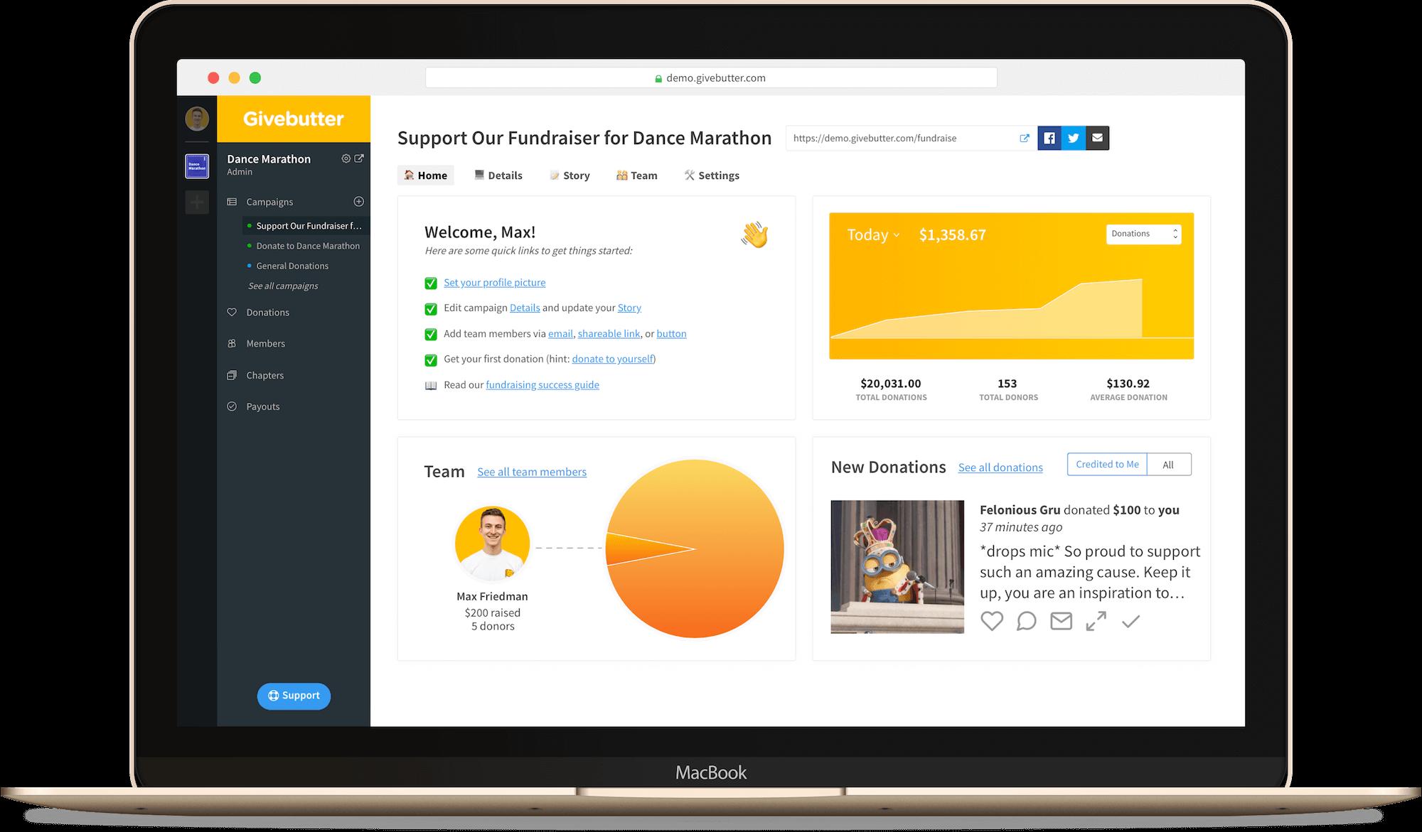 Givebutter Platform Demo Main