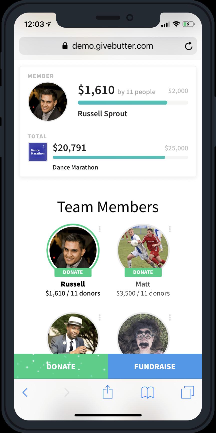 Givebutter Team Fundraising iPhone Screenshot