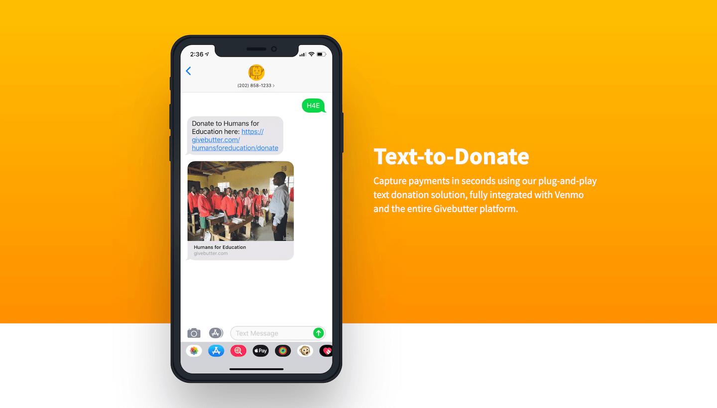 Givebutter Text-to-Donate