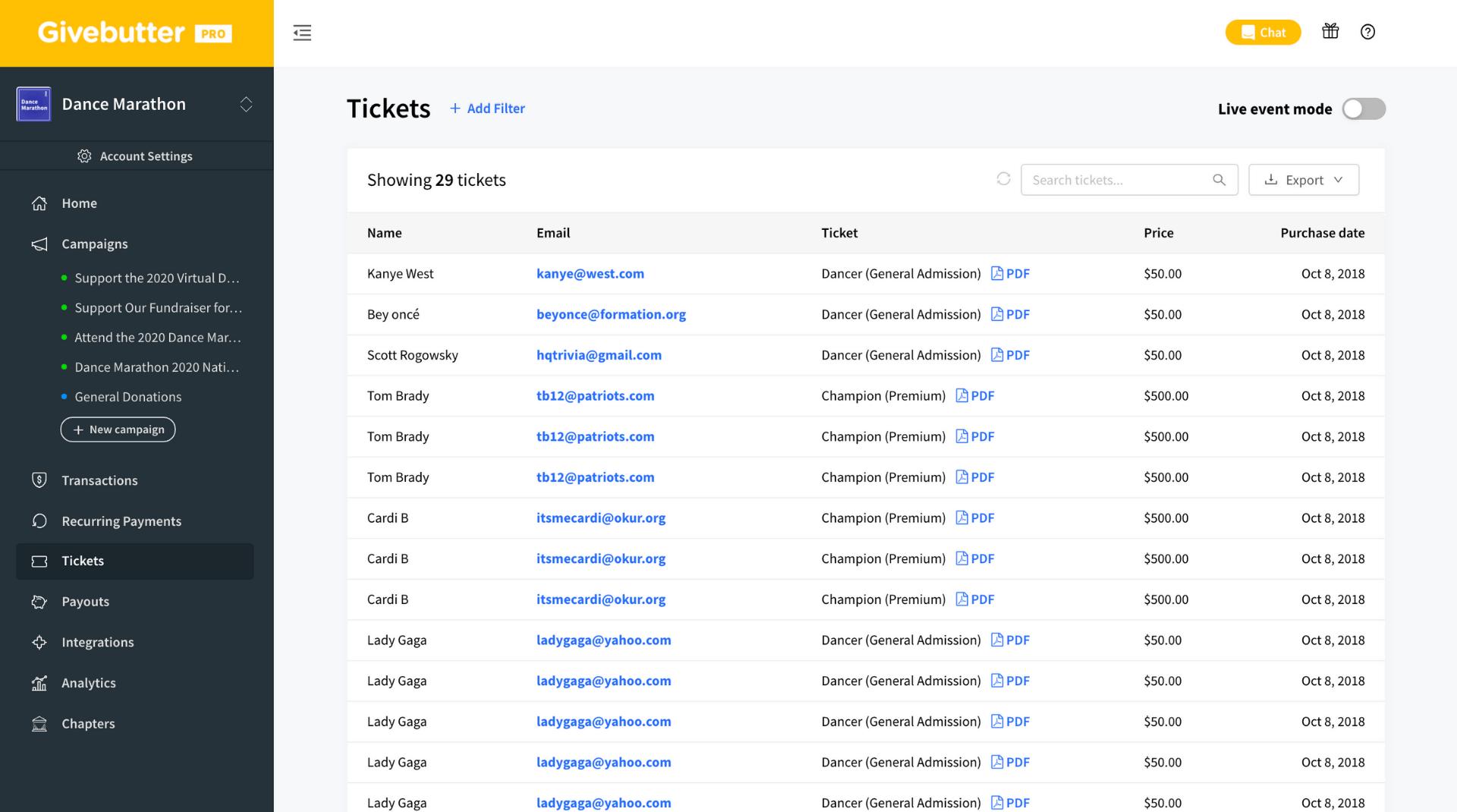 Givebutter Event Management Screenshot