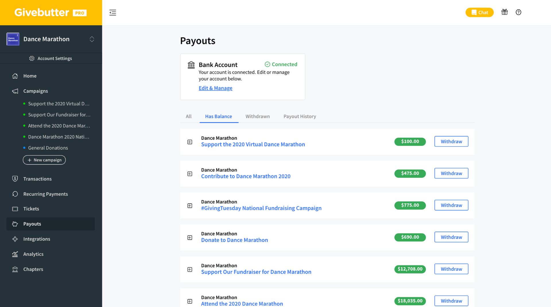 Givebutter Payouts Website Screenshot
