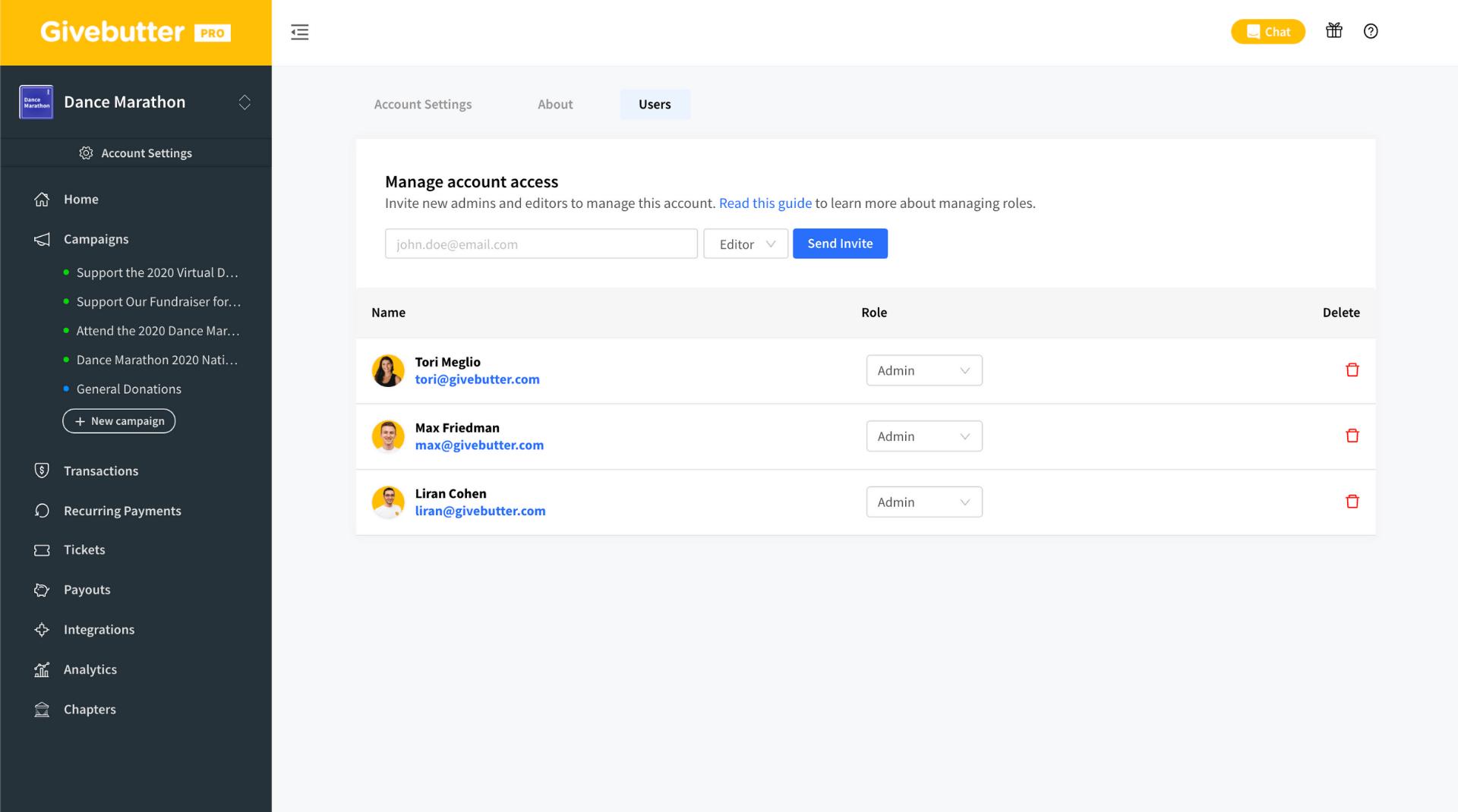 Givebutter roles website screenshot