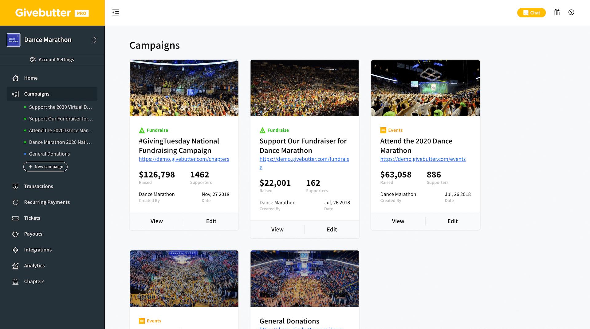 Givebutter Platform Campaigns Website Screenshot