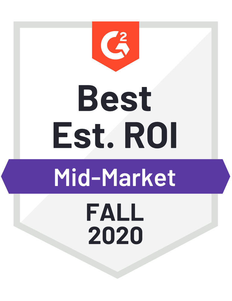 Givebutter: Best Est. ROI (Mid-Market) Badge - G2 Fall 2020