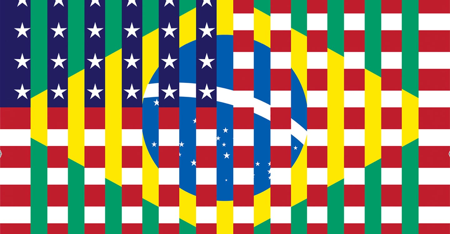 Image mixing the american and brazilian flags.