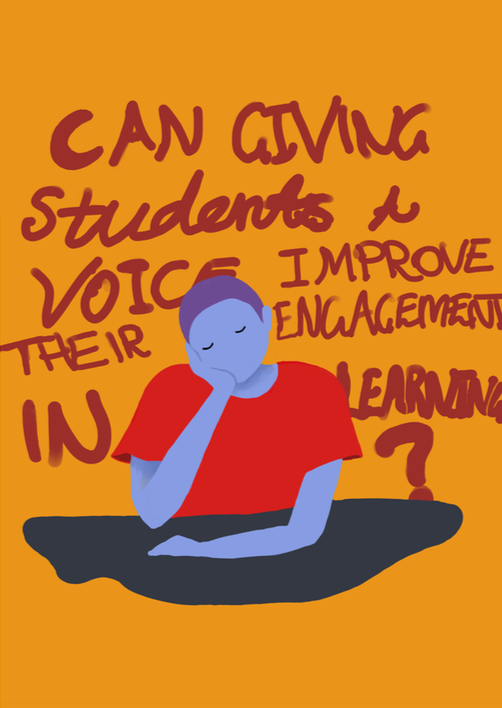 "graphic: young person sitting at desk, caption: ""Can giving students a voice improve their engagement in learning?"""