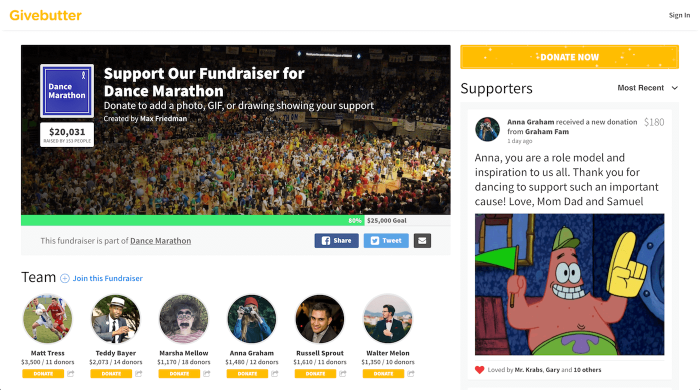 Fundraise Screenshot
