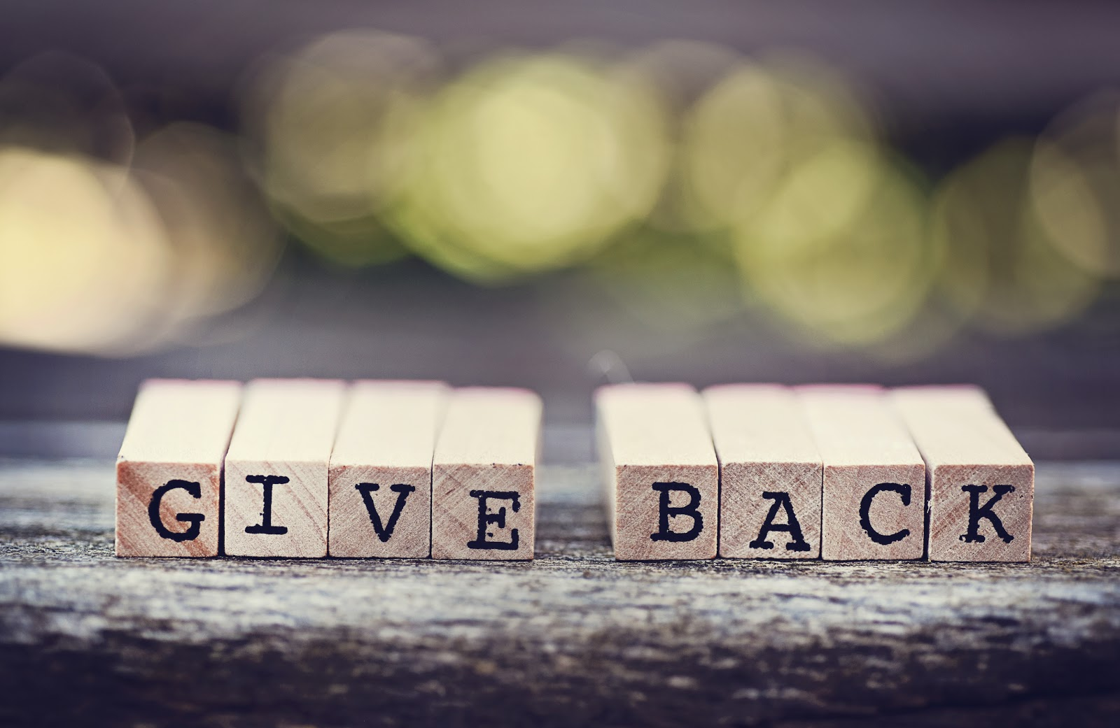 "Donation request letter: Wooden block letters that say ""Give Back"""
