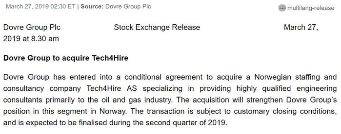Dovre group to acquire Tech4hire