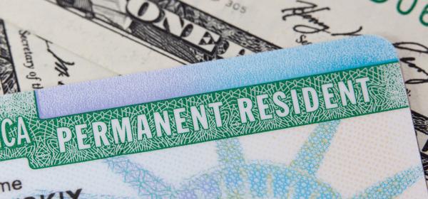 photo of green card and dollar bills
