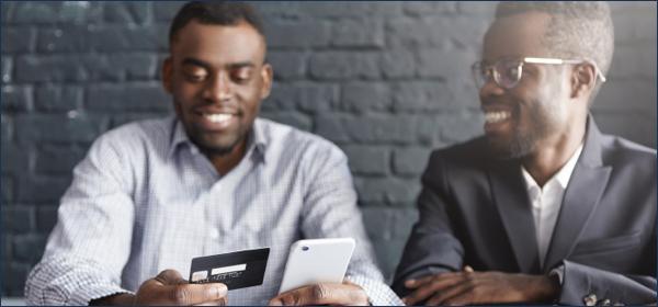 men checking credit score
