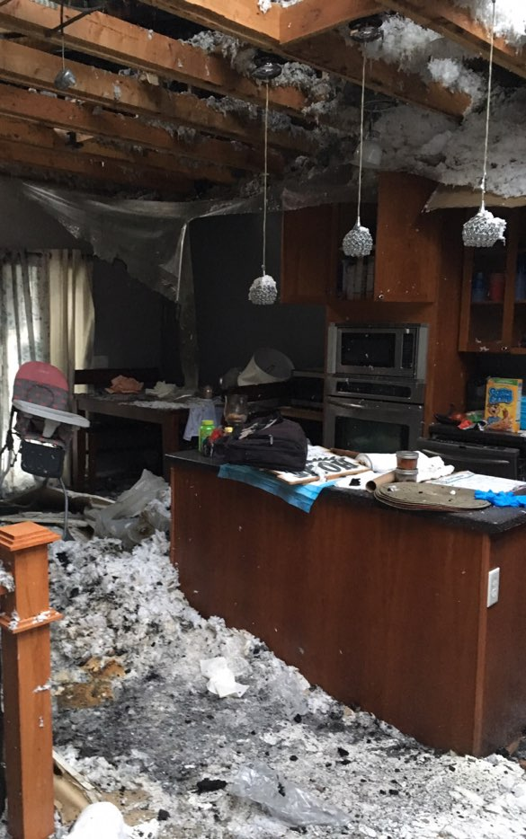 fire damage restoration project before cleanup