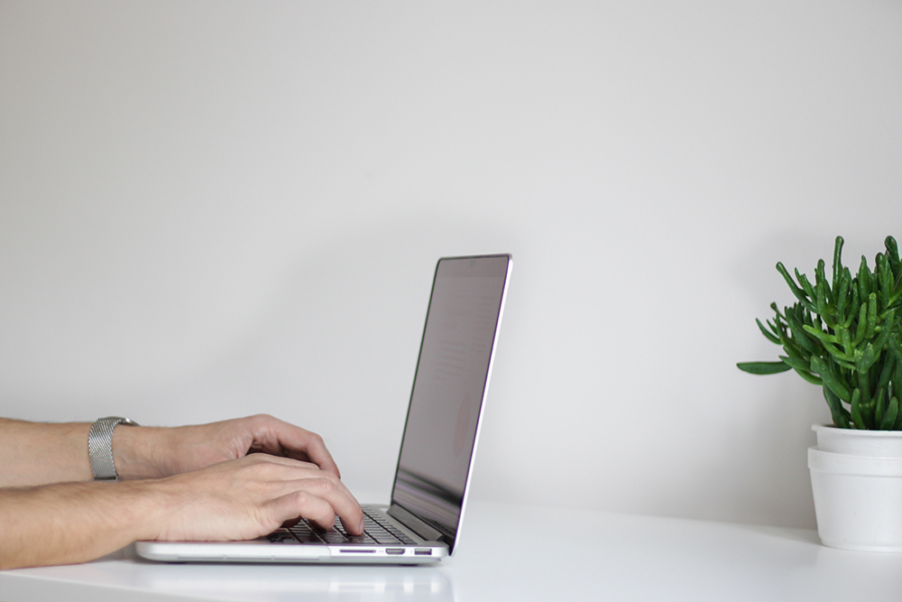 Person typing on a laptop set on a white desk with a plant.