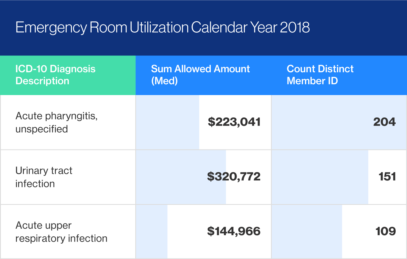 Emergency Room Utilization for 2018 indicates potential savings.