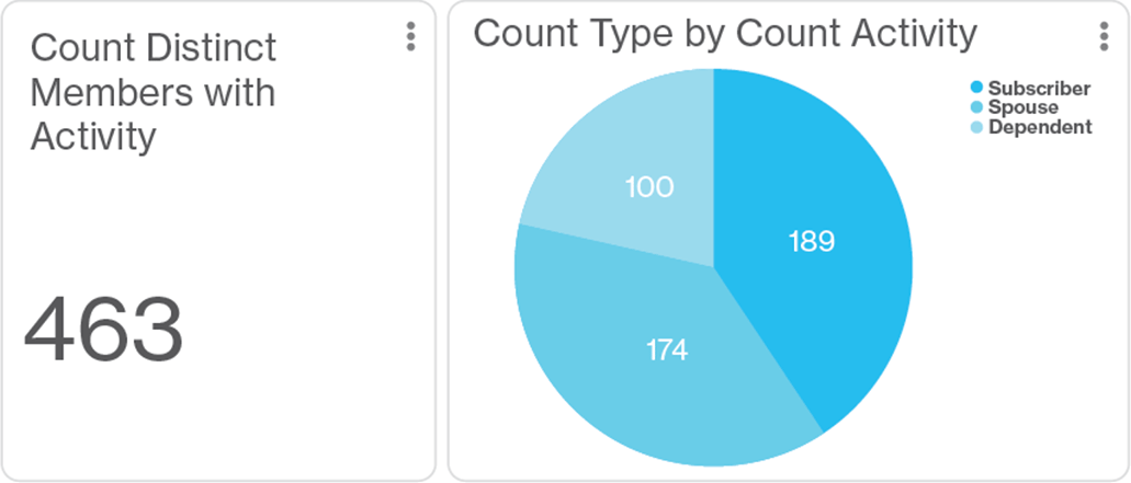 Graphic indicating Count Type by Count Activity in the Artemis Platform: Subsriber (189), Spouse (174) and Dependent (100)