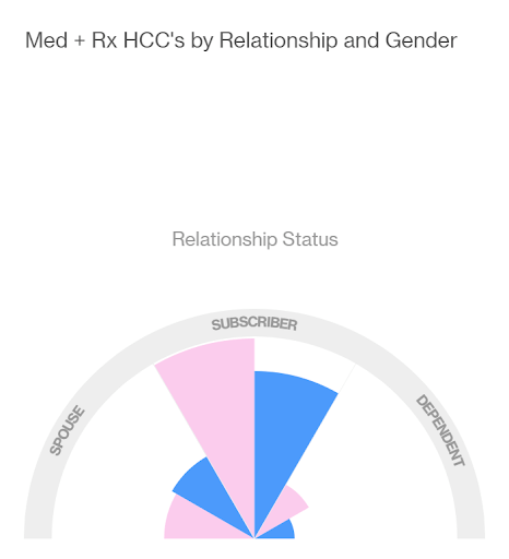Fan chart showing gender and relationship for plan members