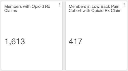 Number of members with opioid prescriptions for low back pain.