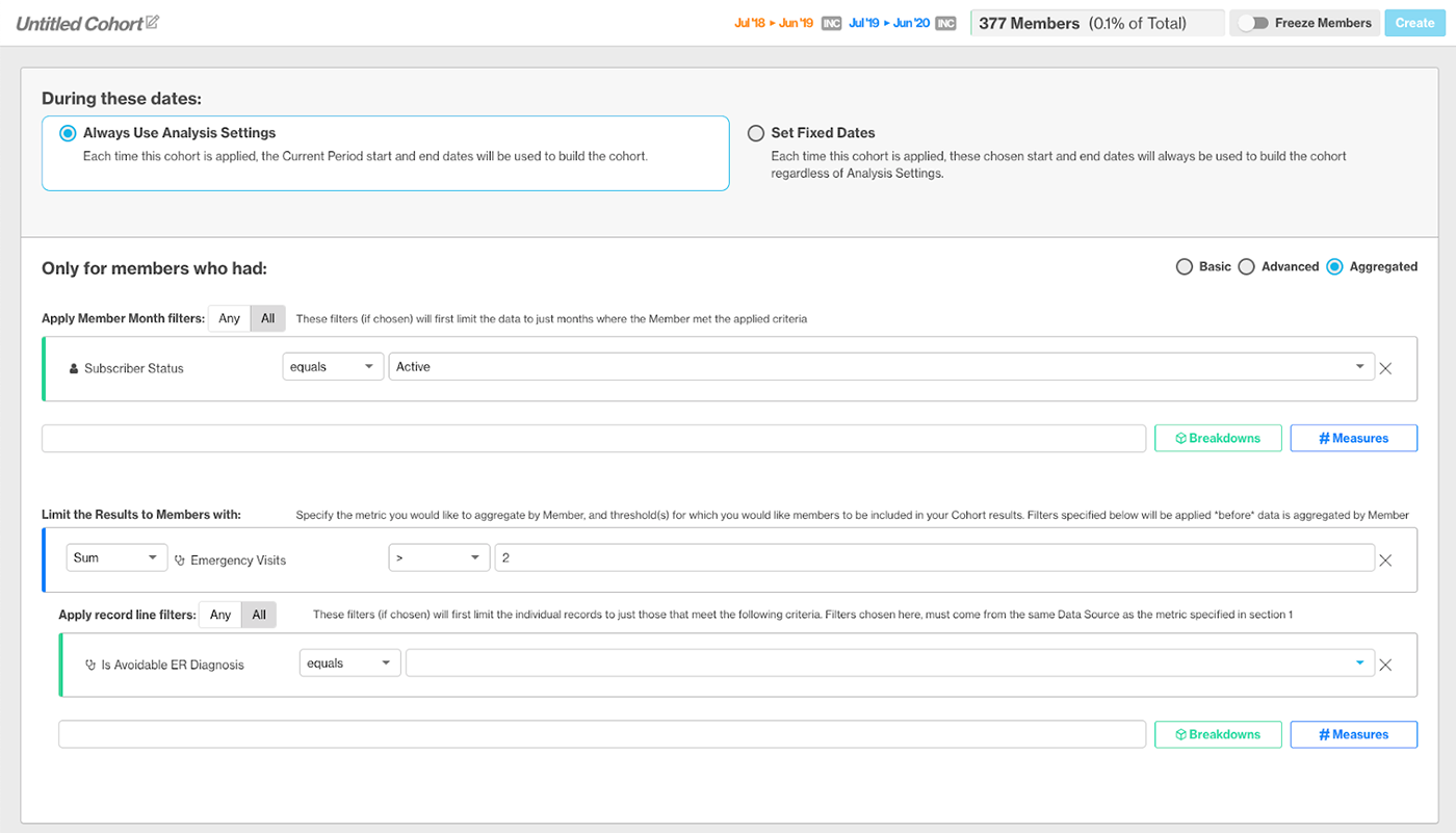 Screenshot of Advanced Dynamic Cohort functionality in the Artemis Platform
