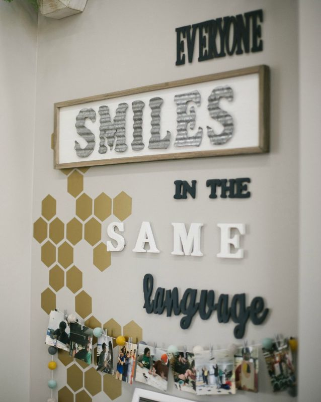 Everyone smiles in the same language wall