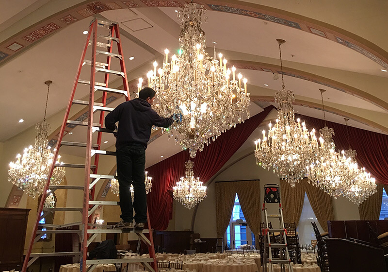 Cleaning Multiple Chandeliers