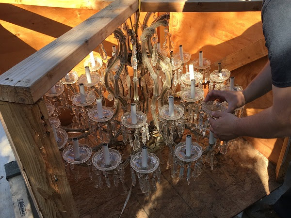 crating and uninstall chandelier