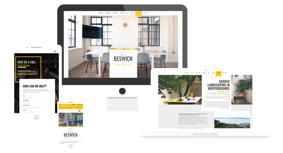 Responsive website design for builder mock up devices