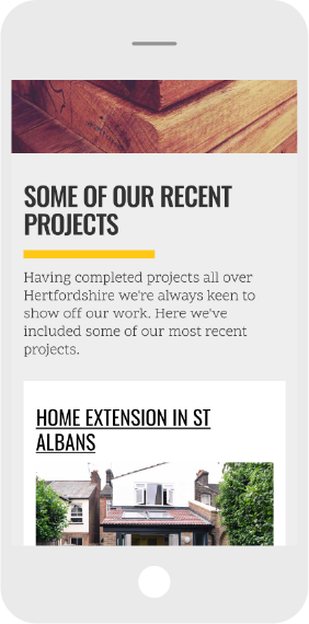Mobile screen shot of construction website design