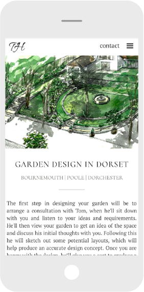Garden website design mobile screen shot