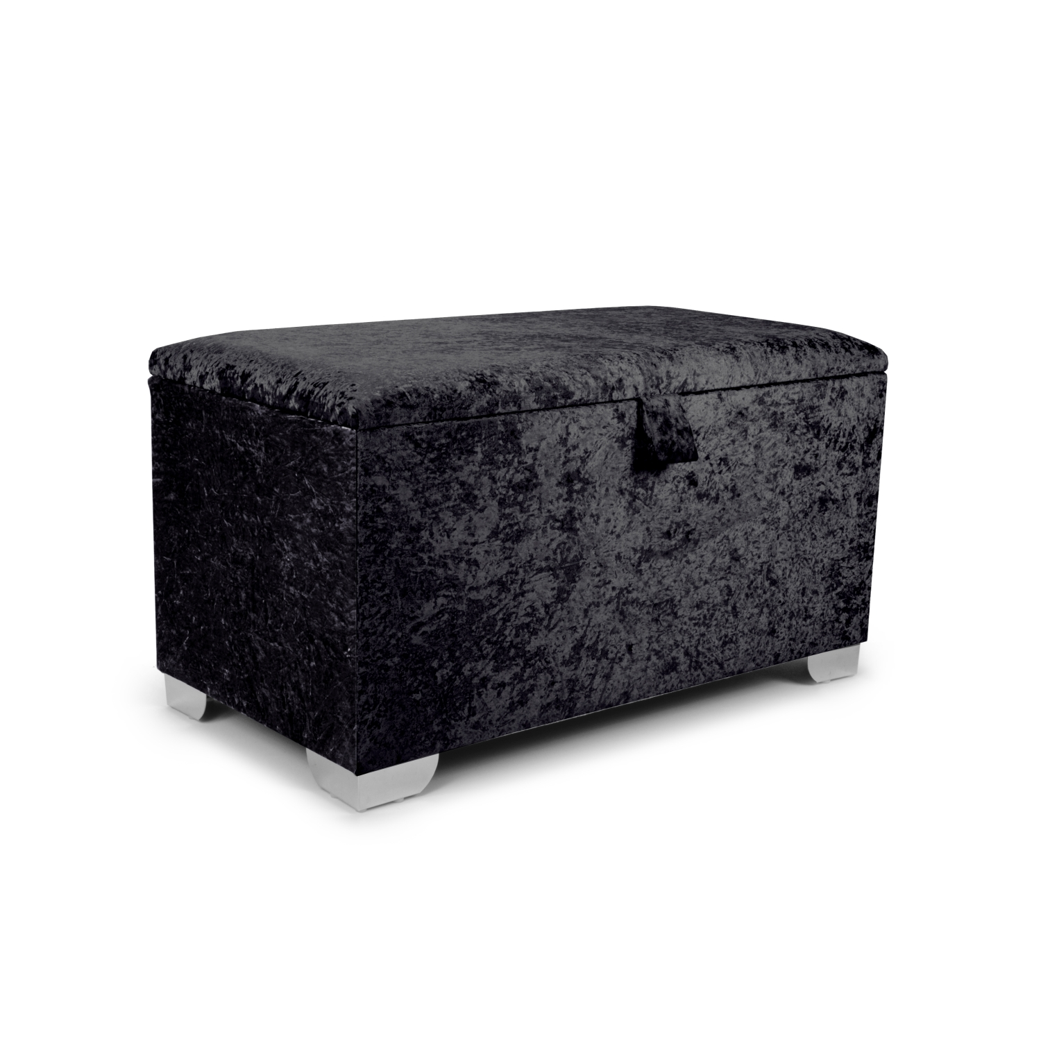 Enjoyable Plain 3Ft Ottoman Crushed Black Velvet Ncnpc Chair Design For Home Ncnpcorg