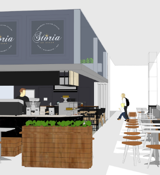 rendered drawing and designs of a cafe fitout