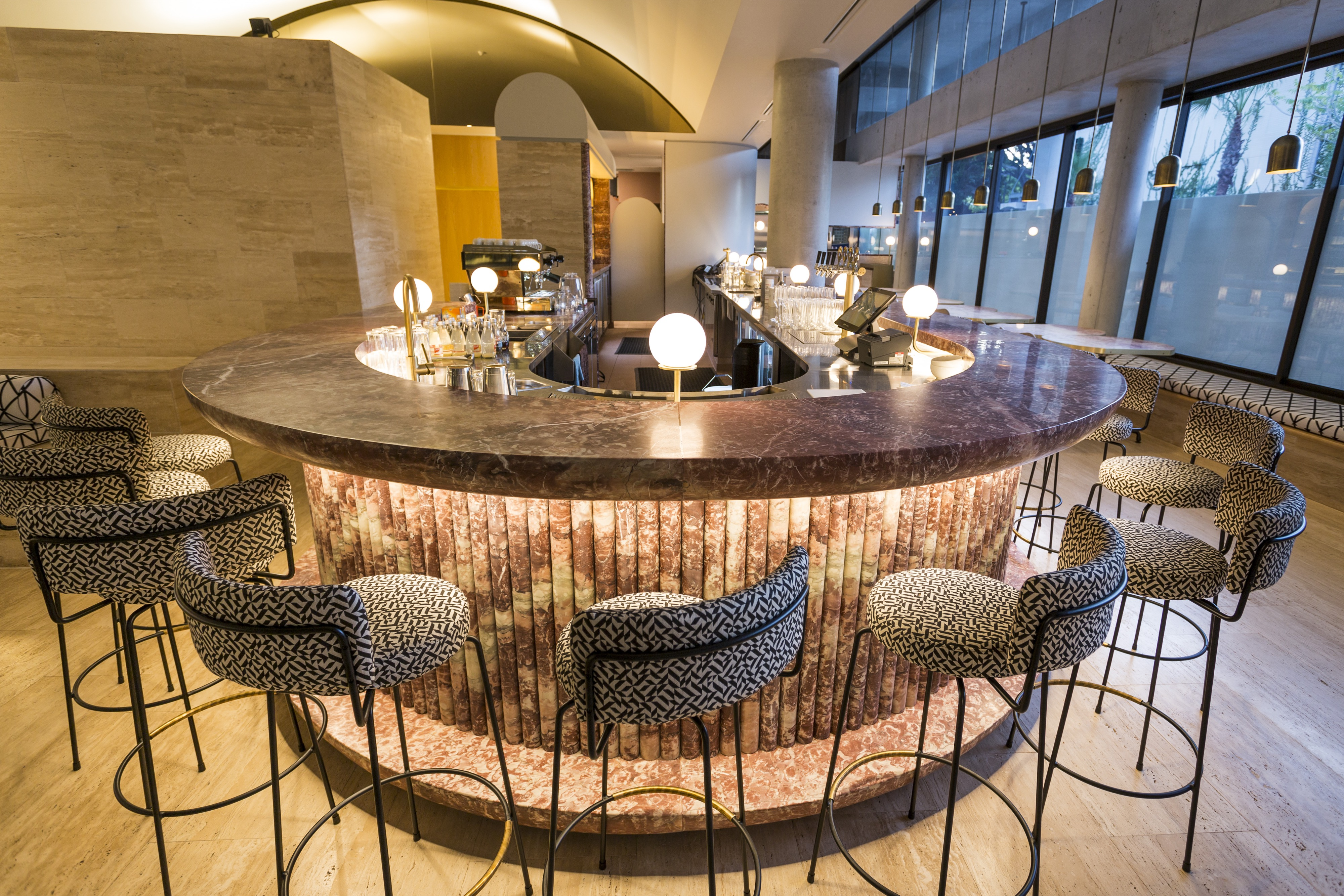 hellenika's bar fitout with red marble counters